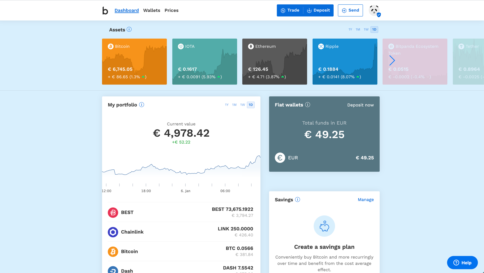 Bitpanda platform screenshot