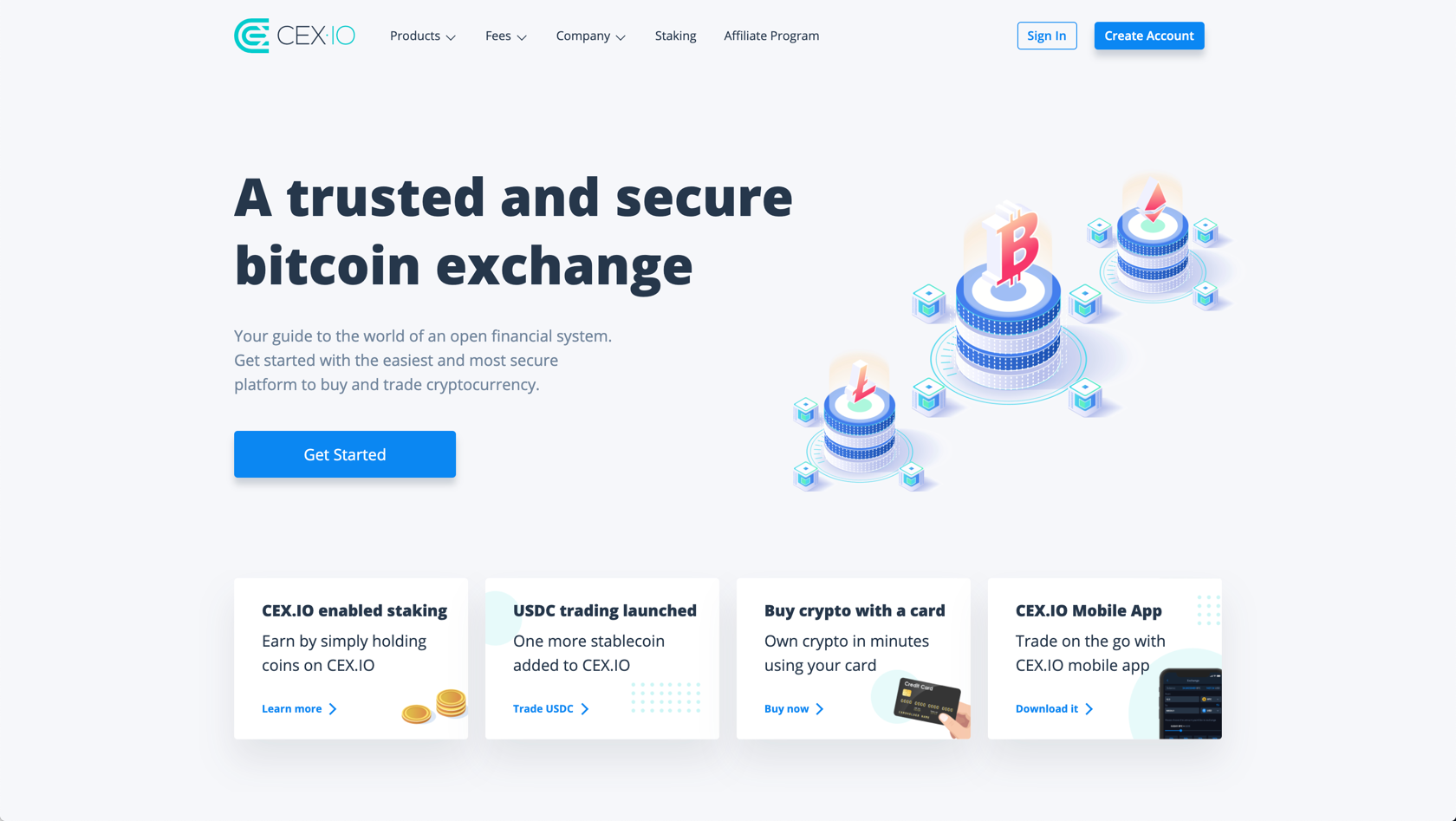 CEX.io landing page